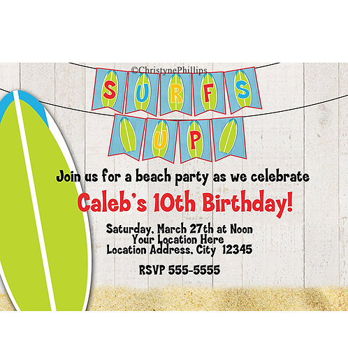 Surfs Up Board & Sand Summer Beach Birthday Party Invitations