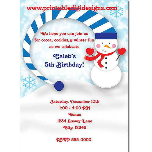 Cute Snowman in the Winter Snow Christmas Party Holiday Invitations