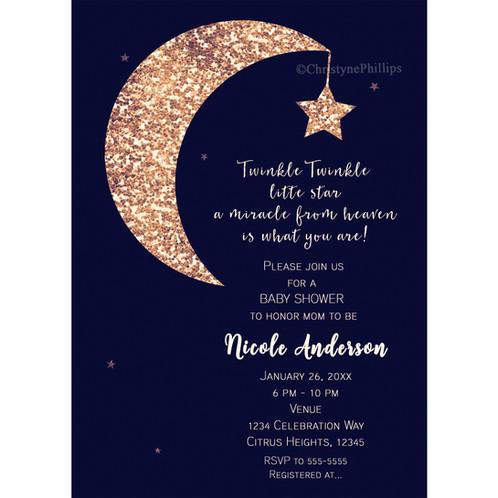 dark blue and bronze glitter moon celestial baby shower invitations