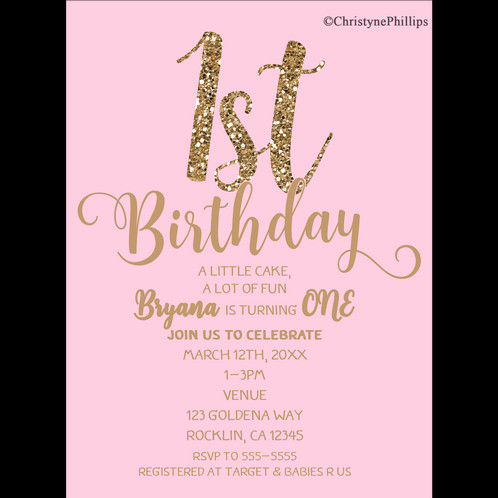 1st birthday party pink gold glitter birthday party invitation 1st birthday party pink gold glitter birthday party invitation digital download filmwisefo Image collections