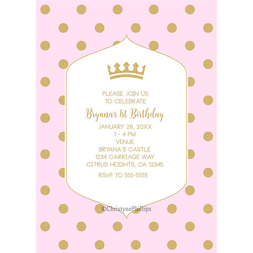 Pink and Gold Polka Dots and Royal Crown Princess Birthday Party Invitations