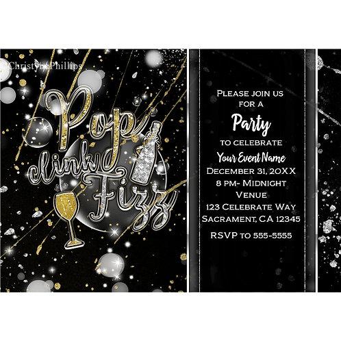 POP CLINK FIZZ Champagne Bubbles Party Invitations