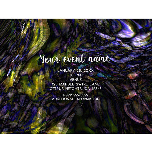 Color Marble Swirl Abalone Abstract Art Elegant Chic Event Invitations