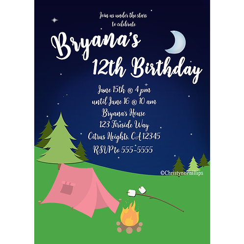 Pink Camping Tent and Smores Girls Birthday Party Event Invitations