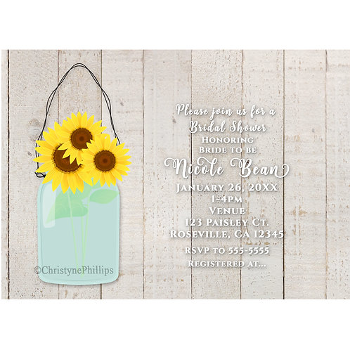 Sunflowers in Mason Jar Rustic Bridal Shower Invitations