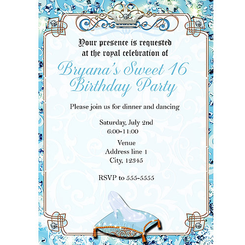 Cinderella Glass Slipper Princess Party Invitations