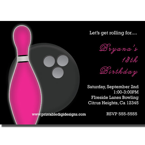 Pink and Black Girls Bowling Birthday Party Invitations