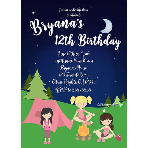 Girls Pink Camping Tent and Smores Birthday Party Event Invitations