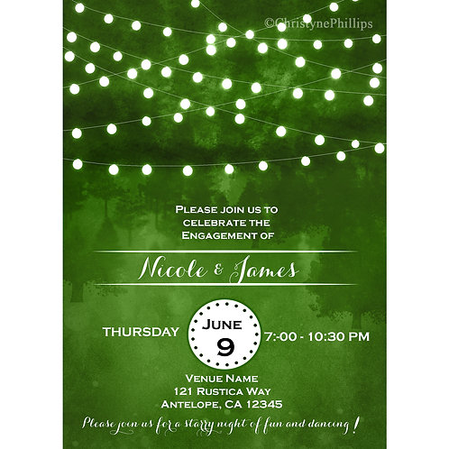Green with String Lights Elegant Engagement Party Invitations