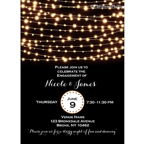 Amber String Lights Black Elegant Engagement Party Invitations