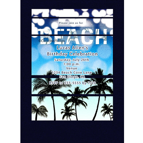 Retro Cool Blue Palm Trees Tropical Beach Party Invitations