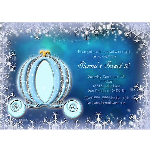 Blue WInter Snowflakes Cinderella Carriage Princess Party Invitations