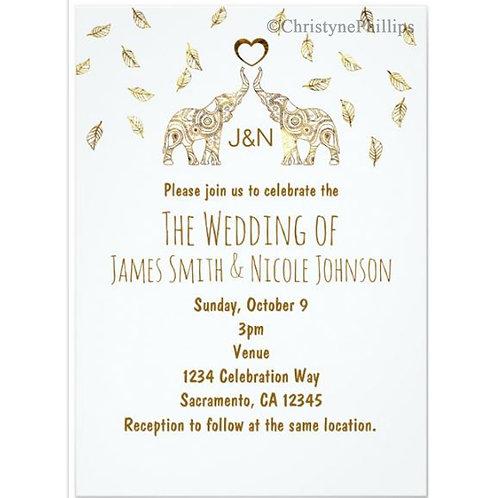Two Elephants & Heart Gold Fall Wedding Invitation