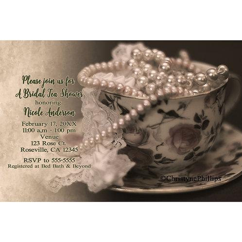 Vintage Rose Tea Cup Lace & Pearls Bridal Shower Invitation