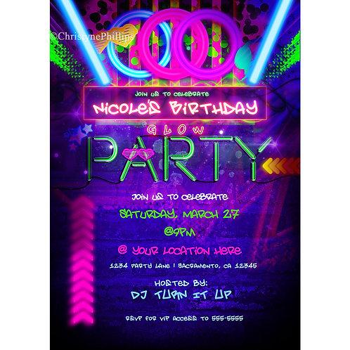 Neon Glow Black Light Birthday Party Club Style Invitations