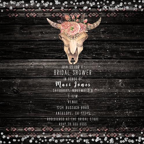 Rustic Floral Cow Skull Dark Wood Glam Invitations