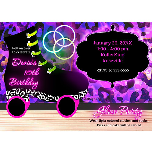 Neon Glow Leopard Print Roller Skating Party Invitations