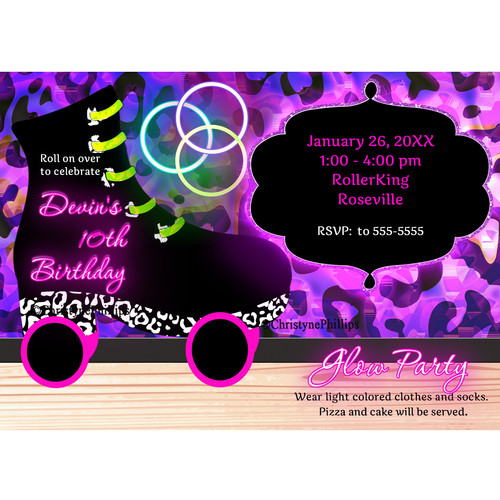 Glow Neon and Black Light Themed Personalized Party Invitations – Glow Party Invite