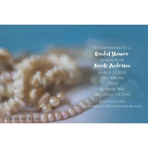 Shells & Pearls Painted Beach Elegant Bridal Shower Invitations