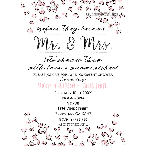 Rustic Pink Heart Leaf Vine Mr. & Mrs. Engagement Shower Invitations