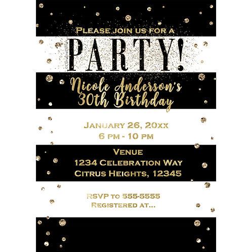 Black & White Stripes Modern Gold Glitter Confetti Party Invitations