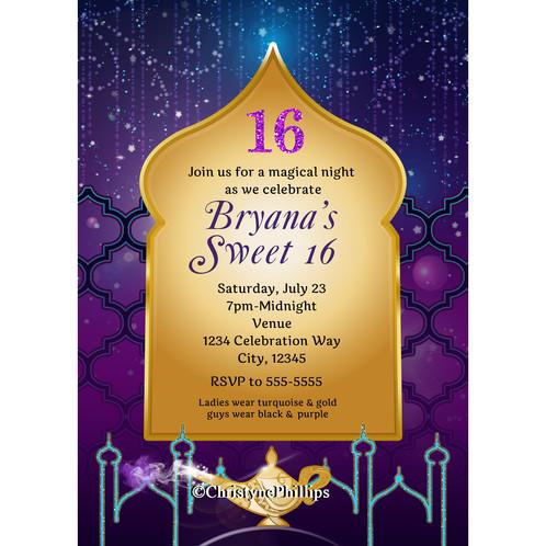 Arabian Nights Moroccan Aladdin Birthday Party Invitations ...