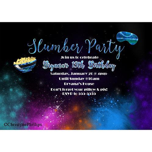 Galaxy Space Slumber Party Birthday Invitations