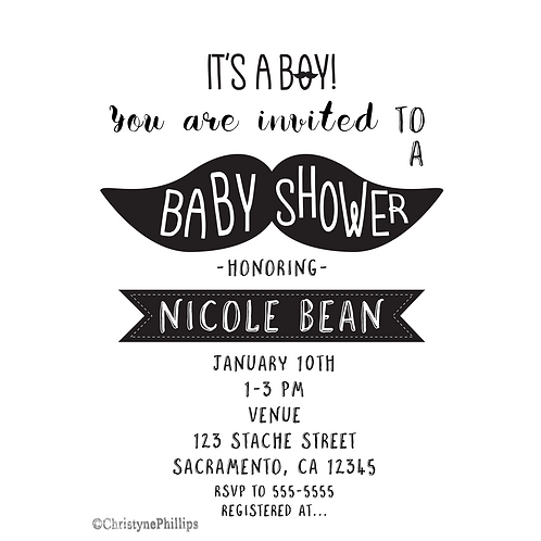 Mustache Black and White Modern Chic Barber Baby Shower Invitations