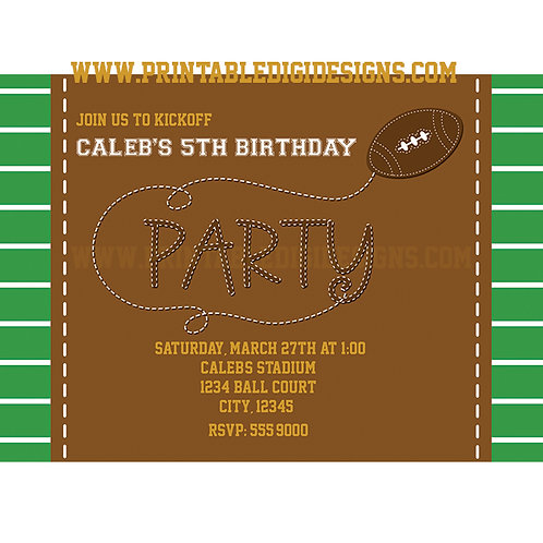 Football Sports Birthday Party Personalized Invitations