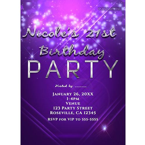 Purple Electric Lights Sparkle Dance Club Birthday Party Invitations