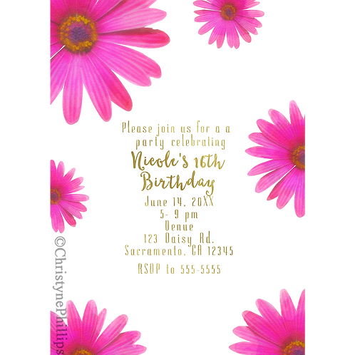 Pink Daisies Rustic Daisy Flower Digital Party Invitations