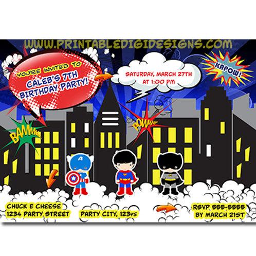 Boys Comic Book Birthday Party Invitations