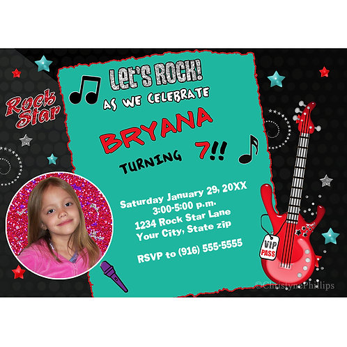Rock Star Birthday Party Invitations with Photo
