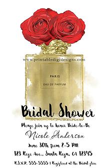 Floral Fashion Perfume Bottle Red Roses Bridal Shower