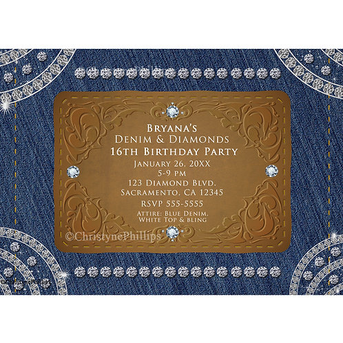 Denim and Diamonds Brown Leather  Birthday Party Invitations