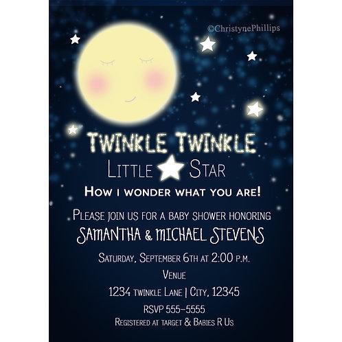 Celestial Moon Face Twinkle Twinkle Little Star Baby Shower Invitations