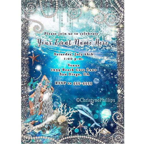 Blonde Mermaid Enchanting Waterfall Ocean Beach Party Invitations