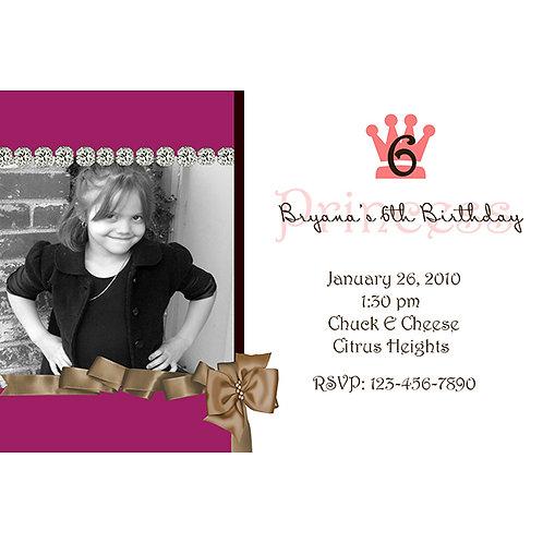 Chic Princess Photo Birthday Party Invitations
