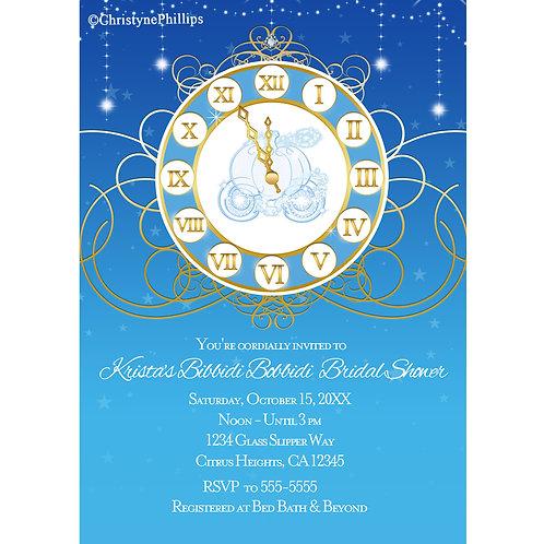 Cinderella Almost Midnight Bridal Shower Birthday Party Invitations