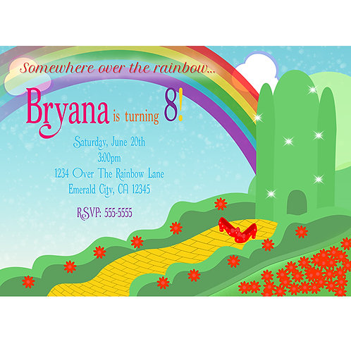 Wizard of OZ The Emerald City Yellow Brick Road Party Invitations
