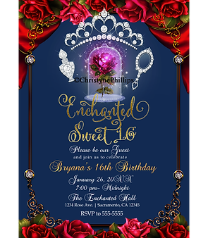 Beauty & The Beast Enchanted Red Rose Blue Silver Sweet 16 Party