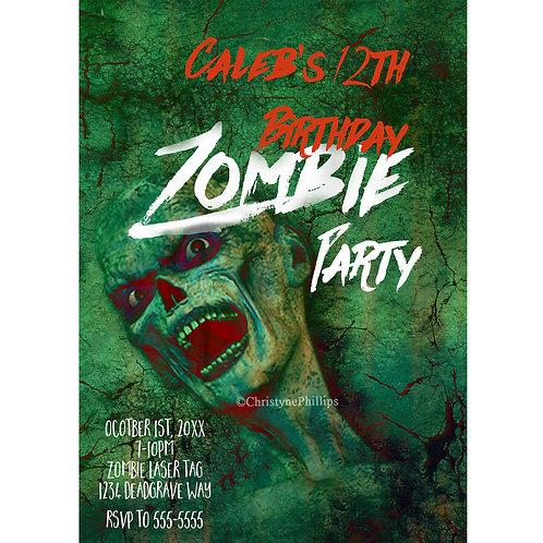Green Zombie Birthday Halloween Personalized Party Invitations