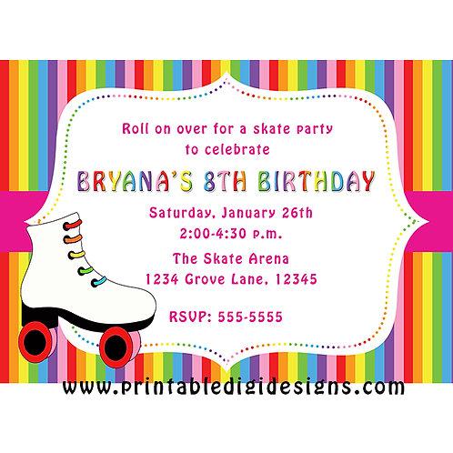 Rainbow Stripes Roller Skating Birthday Party Invitations