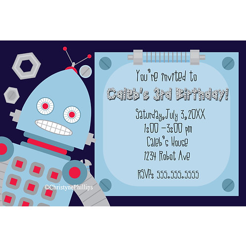 Kids Blue Robot Personalized Birthday Party Invitations
