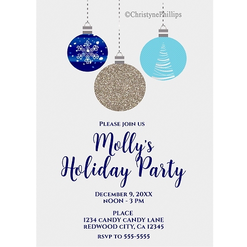 Christmas Hanging Ornaments Modern Glam Holiday Party Invitation