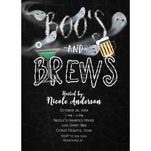 Boos and Brews Halloween Spirits Costume Party Invitations