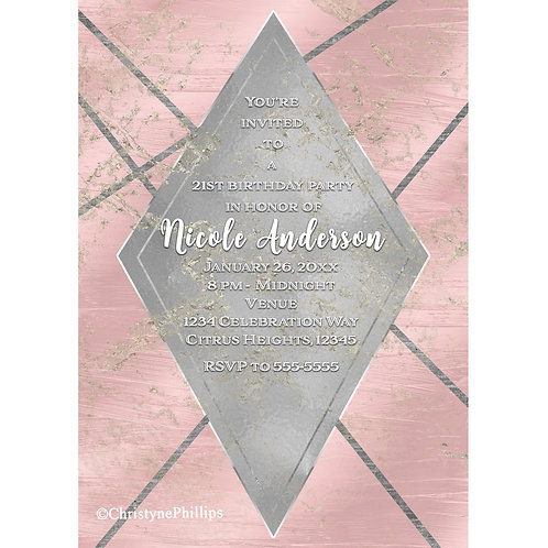 Pink and Silver Diamond Glamour Chic Party Invitation