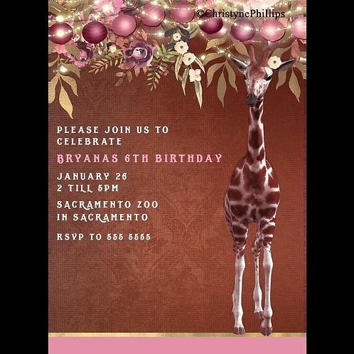 Girly Giraffe Brown & Pink Floral Lanterns Birthday Party Invitations