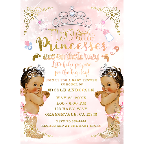 Princess Vintage Baby Girls Twins Pink Baby Shower Invitations