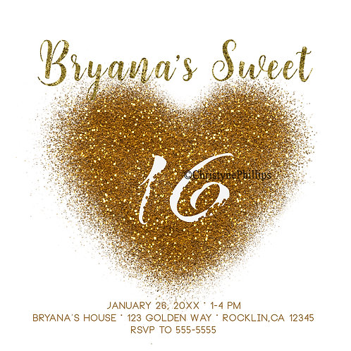 Sweet 16 Gold Glitter Spill Heart Glam Birthday Party Invitations
